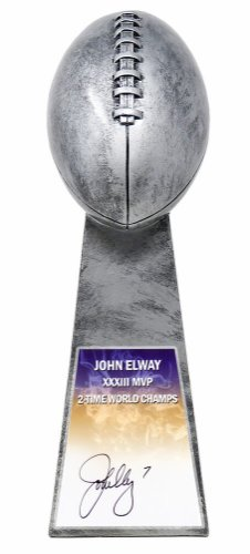 John Elway Autographed Signed Football World Champion 15 Inch Replica Silver Trophy