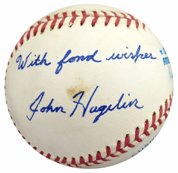 John Hagelin Autographed Signed Official AL Baseball Presidential Candidate Beckett BAS #S78780