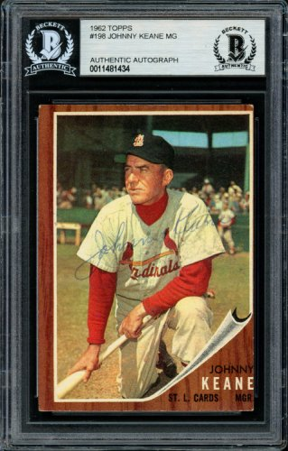 Johnny Keane Autographed Signed 1962 Topps Card 198 St. Louis Cardinals Died 1967 Beckett BAS 11481434