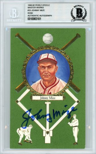 Johnny Mize Autographed Signed 1992 Perez-Steele Master Works Postcard #33 St. Louis Cardinals - Beckett Authentic