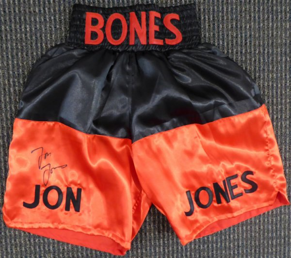 Jon Bones Jones Autographed Signed UFC Fighting Trunks Beckett BAS Stock #159215