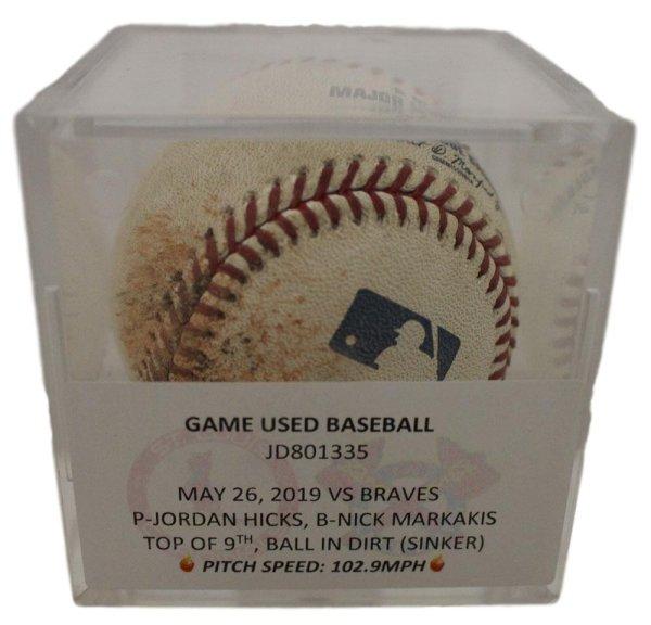 Jordan Hicks St Louis Cardinals Game Used OML Baseball May 26 2019 MLB