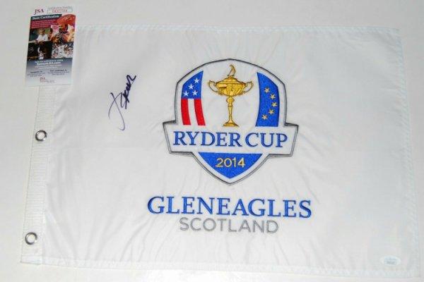 Jordan Spieth Autographed Signed (2014 Ryder Cup) Gleneagles Golf Pin Flag Pga JSA Authentic