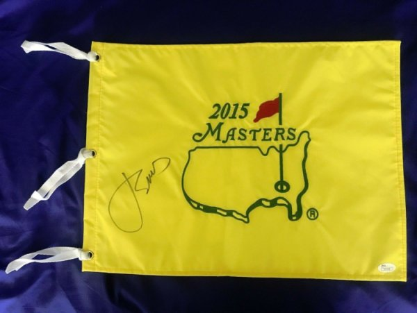 Jordan Spieth Autographed Signed 2015 Masters Pin Flag Golf Champion JSA Loa