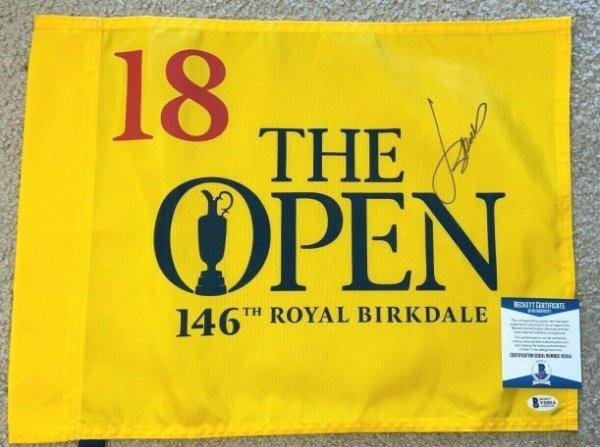 Jordan Spieth Autographed Signed 2017 British Open Flag Royal Birkdale Us Pga Masters Beckett