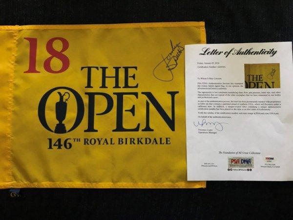 Jordan Spieth Autographed Signed British Open Flag PSA/DNA Perfect Full Signature