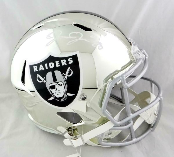 Josh Jacobs Autographed Signed Oakland Raiders F/S Chrome Speed Helmet-Beckett W Auth *White