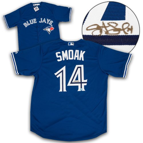 9558a79c Justin Smoak Toronto Blue Jays Autographed Signed Replica MLB Baseball  Jersey - Certified Authentic