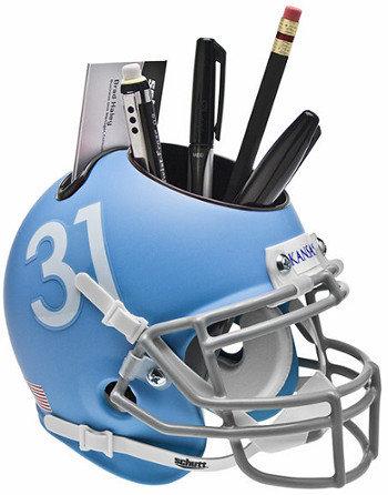 Kansas Jayhawks Matte Blue NCAA Football TB Schutt Mini Helmet Desk Caddy