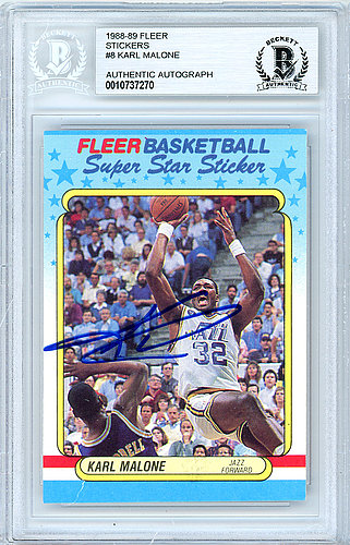 986d16d0ca0 Karl Malone Autographed Signed 1988-89 Fleer Sticker Card Autographed Signed   8 Utah Jazz