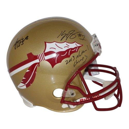 Kelvin Benjamin & Jameis Winston FSU Seminoles Autographed Signed Full Size Riddell Replica Gold Helmet w/ 2013 National Champs Inscription - Beckett & PSA/DNA Authentic