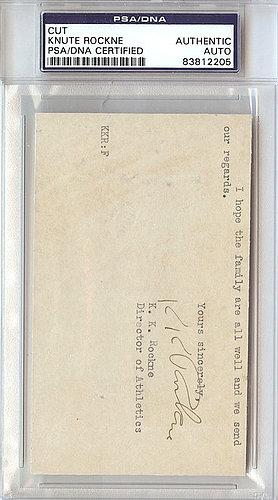 Knute Rockne Autographed Signed 3x5 Cut Signature Notre Dame Fightin' Irish - PSA/DNA Certified