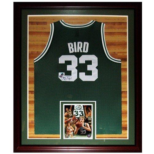 Larry Bird Autographed Signed Auto Boston Celtics Green  33 Deluxe Framed  Jersey   Court Background e761c70ec