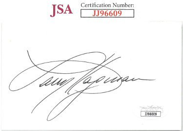 Larry Hagman Autographed Signed 3x5 Index Card- JSA #JJ96609 (Dallas/I Dream of Jeannie)