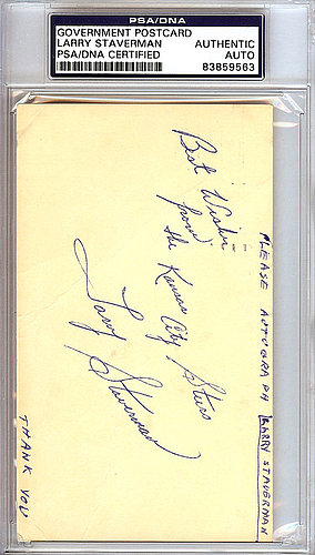 Larry Staverman Autographed Signed 3x5 Government Postcard - PSA/DNA Certified