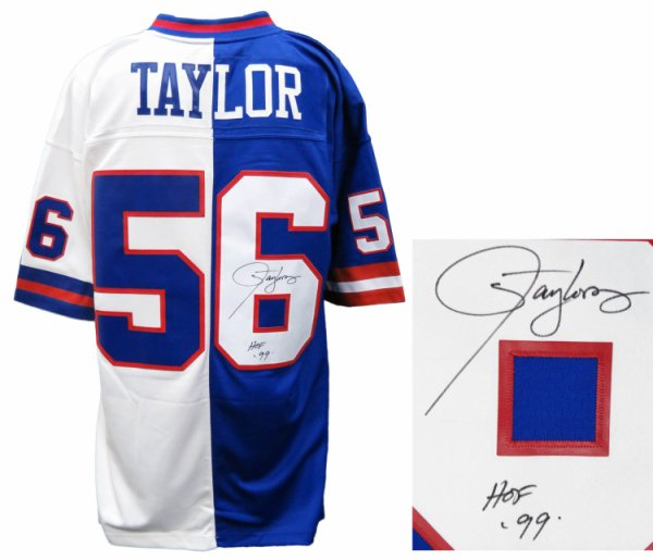 Lawrence Taylor Autographed Signed New York Giants Blue & White Mitchell & Ness Split Jersey w/HOF'99