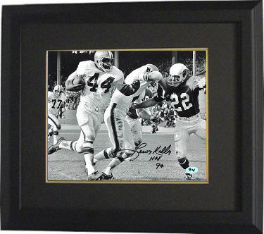 Leroy Kelly Autographed Signed Cleveland Browns B&W 8X10 Photo Deluxe Deluxe Framed HOF 94 vs Cardinals