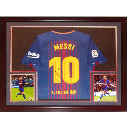 eba96b26f Lionel Messi Autographed Signed Auto FC Barcelona Home  10 Deluxe Framed  Jersey   Icons COA - Certified Authentic