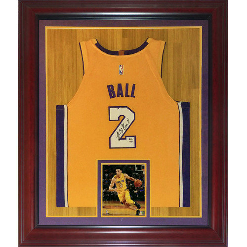 brand new 78599 d1bfd Lonzo Ball Autographed Signed Auto Los Angeles Lakers Yellow ...