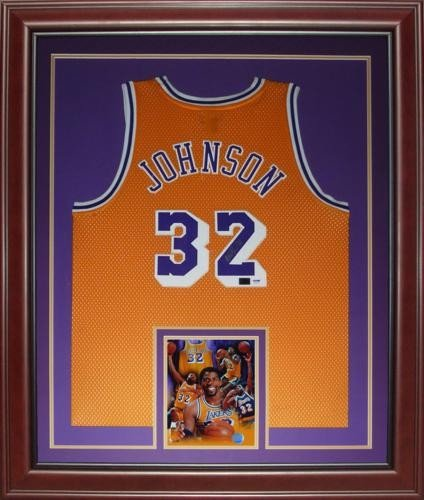 Magic Johnson Autographed Signed Auto Los Angeles Lakers Yellow  32 Deluxe  Framed Jersey � PSADNA - Certified Authentic ef6cba3f6
