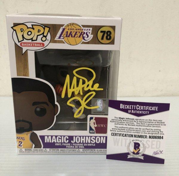 Magic Johnson Autographed Signed Autographed Los Angeles Lakers Funko Pop NBA Beckett COA