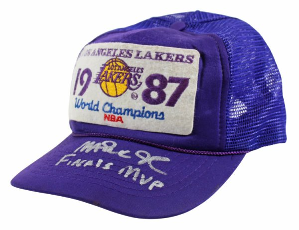 Magic Johnson Autographed Signed Lakers Finals MVP 1987 Vintage Trucker Hat Beckett