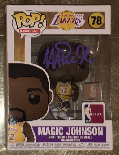 Magic Johnson Autographed Signed Lakers NBA Hwc #78 Funko Pop Vinyl Figure With Purple Sig Beckett