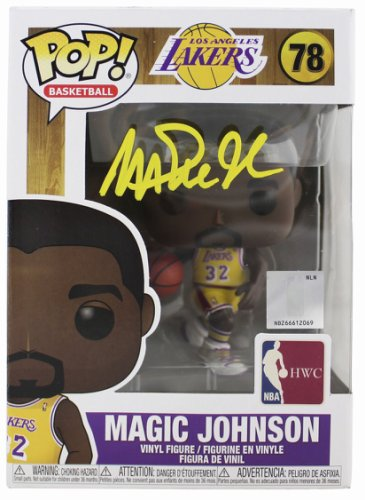Magic Johnson Autographed Signed Lakers NBA Hwc #78 Funko Pop Vinyl Figure With Yellow Sig Beckett