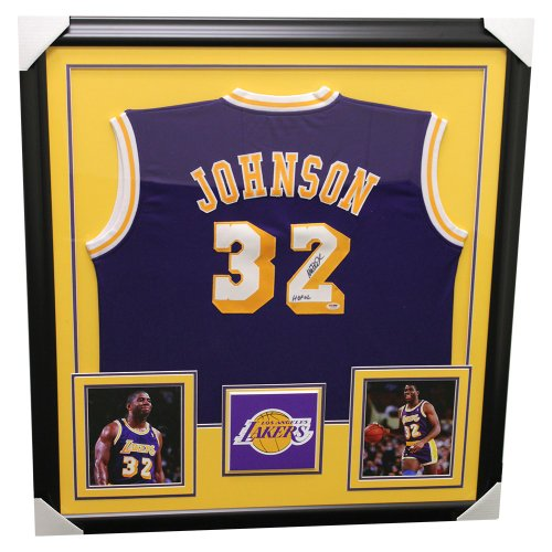 59dc500865a3 Magic Johnson Los Angeles Lakers Framed Autographed Signed Custom Jersey -  PSA DNA Certified Authentic