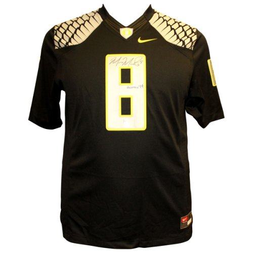 22901faf7af Marcus Mariota Autographed Signed Oregon Ducks Nike On Field Black Jersey  with Silver/Yellow Wings and Numbers - Heisman 14 Inscription - PSA/DNA  Authentic ...