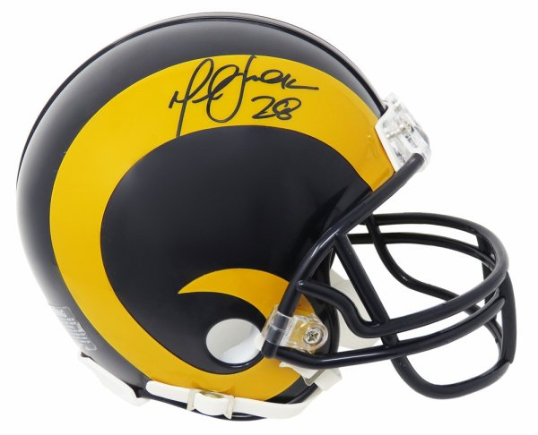 Marshall Faulk Autographed Signed Rams Throwback Riddell Mini Helmet (Beckett)