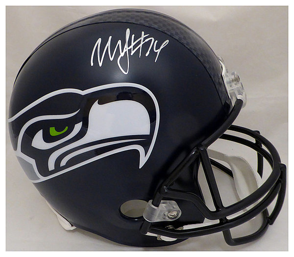 9c0e94beeb8 Marshawn Lynch Autographed Signed Seattle Seahawks Full Size Replica Helmet  In Silver ML Holo Stock #131214 - Certified Authentic