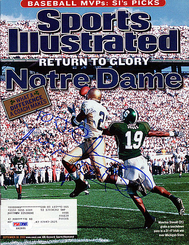 Maurice Stovall Autographed Signed Sports Illustrated Magazine Notre Dame Fightin' Irish To Joe - PSA/DNA Certified