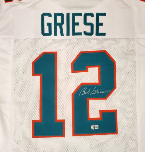 Miami Dolphins Bob Griese Autographed Signed White Jersey Beckett BAS QR
