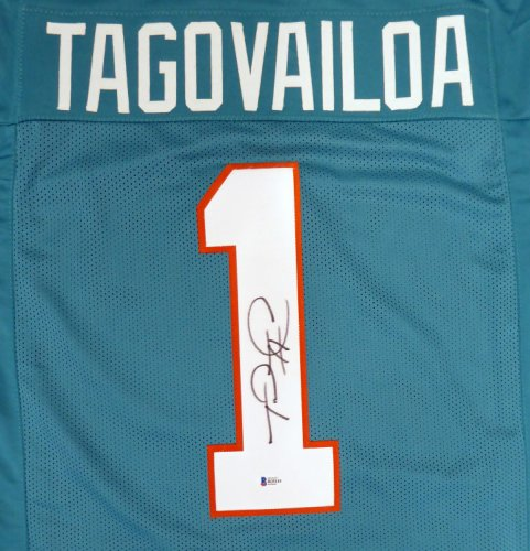 Miami Dolphins Tua Tagovailoa Autographed Signed Teal Jersey Beckett BAS