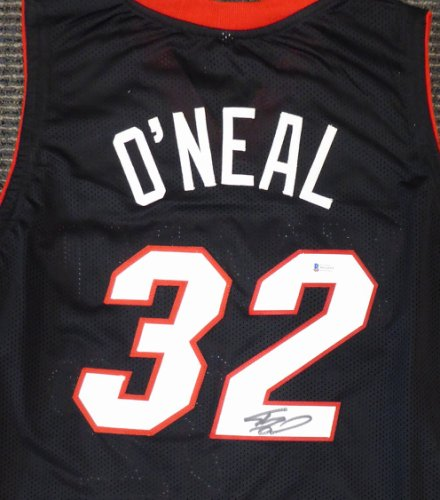 Miami Heat Shaquille O'Neal Autographed Signed Black Jersey On 2 Beckett BAS