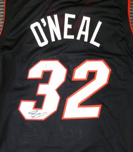 Miami Heat Shaquille O'Neal Autographed Signed Black Jersey On 3 Beckett BAS
