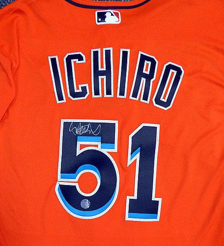 best loved 98f8f ab790 Miami Marlins Ichiro Suzuki Autographed Signed Orange ...