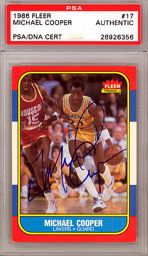 ebf24dc68a2 Michael Cooper Autographed Signed 1986 Fleer Card  17 Los Angeles Lakers -  PSA DNA Certified KEN