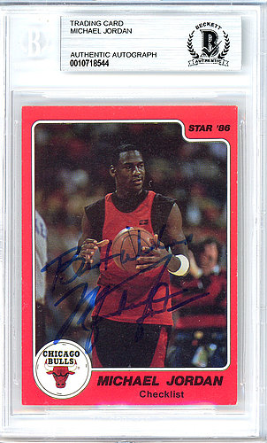61b3a391806c0a Michael Jordan Autographed Signed 1986 Star Card Autographed Signed #1  Chicago Bulls Best Wishes Vintage