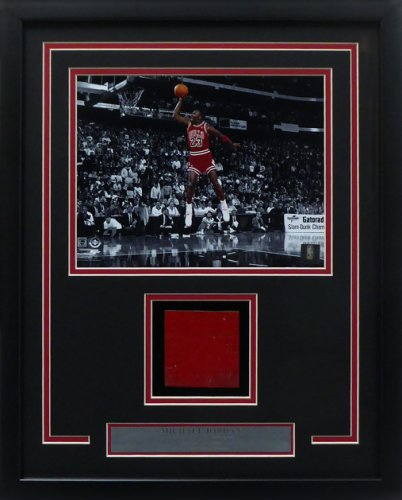 Michael Jordan Framed 8x10 Photo With Chicago Bulls Game Used Red Hardwood Floor Piece Stock #165120