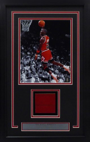 Michael Jordan Framed 8x10 Photo With Chicago Bulls Game Used Red Hardwood Floor Piece Stock #165121
