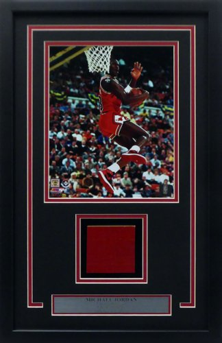 Michael Jordan Framed 8x10 Photo With Chicago Bulls Game Used Red Hardwood Floor Piece Stock #165122