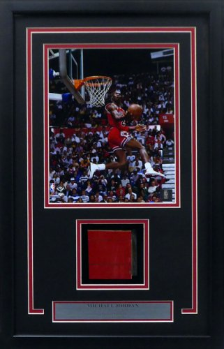 Michael Jordan Framed 8x10 Photo With Chicago Bulls Game Used Red Hardwood Floor Piece Stock #165123