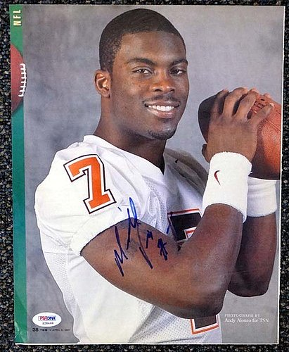 Michael Vick Autographed Signed Magazine Page Photo Virginia Tech - PSA/DNA Certified