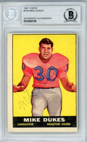Mike Dukes Autographed Signed Auto 1961 Topps Rookie Card #144 Houston Oilers - Beckett Certified