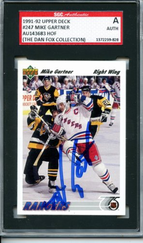 Mike Gartner 1991 92 Upper Deck New York Rangers Autographed Signed Trading Card