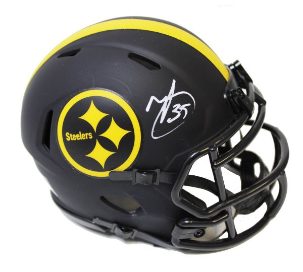 Minkah Fitzpatrick Autographed Signed Black Pittsburgh Steelers Riddell Flat White Collection Mini Helmet - Beckett Authentic