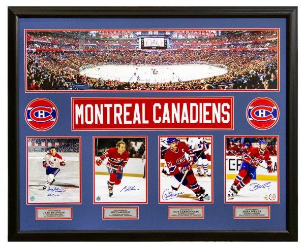 Montreal Canadiens Beliveau, Lafleur, Carbonneau & Weber Autographed Signed Memorabilia Panoramic 44X35 Frame