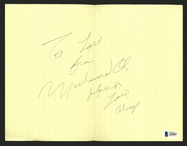 Muhammad Ali Autographed Signed 8.5x11 Cut Signature To Lori, July 14 1983 Vintage Beckett BAS #A64092